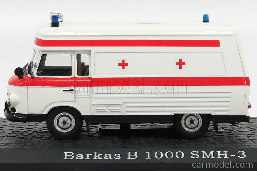 EDICOLA 7167104 Scale 1/43  BARKAS B1000 SMH3 AMBULANCE 1958 WHITE RED