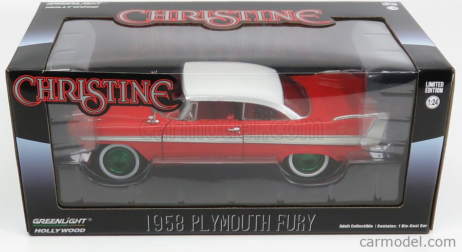GREENLIGHT 84071 Scale 1/24  PLYMOUTH FURY 2-DOOR 1958 - CHRISTINE LA MACCHINA INFERNALE - GREEN WHEELS RED WHITE