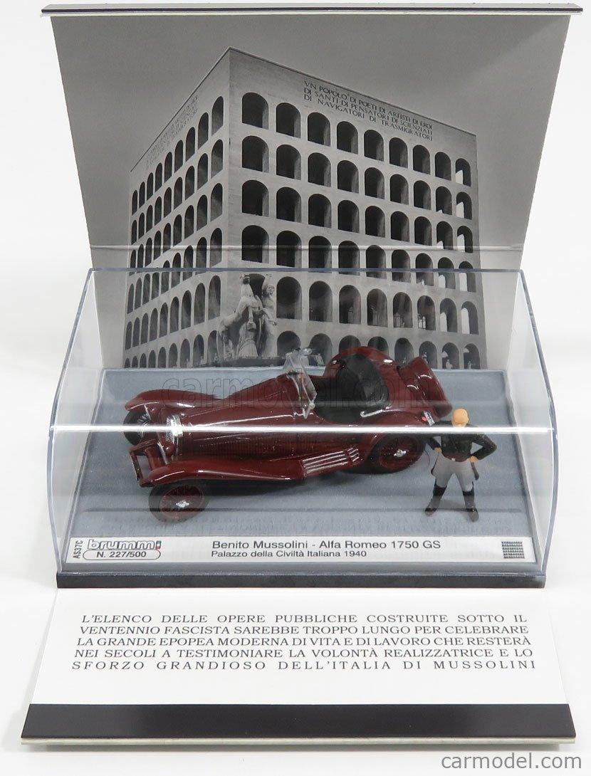 BRUMM AS37C Echelle 1/43  ALFA ROMEO 1750GS SPIDER WITH MUSSOLINI FIGURE - PALAZZO DELLA CIVILTA' ITALIANA ROMA 1940 BORDEAUX