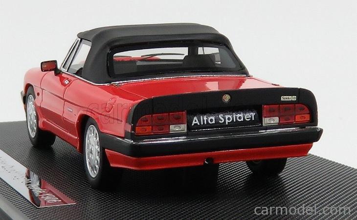 SILAS MR43103B.RA Scala 1/43  ALFA ROMEO SPIDER QUADRIFOGLIO VERDE SOFT-TOP 1986 - 3ª SERIE AEREODINAMICA ROSSO ALFA RED
