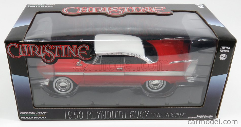 GREENLIGHT 84082 Scale 1/24  PLYMOUTH FURY 2-DOOR 1958 - BLACK WINDOWS - EVIL VERSION - CHRISTINE LA MACCHINA INFERNALE RED WHITE