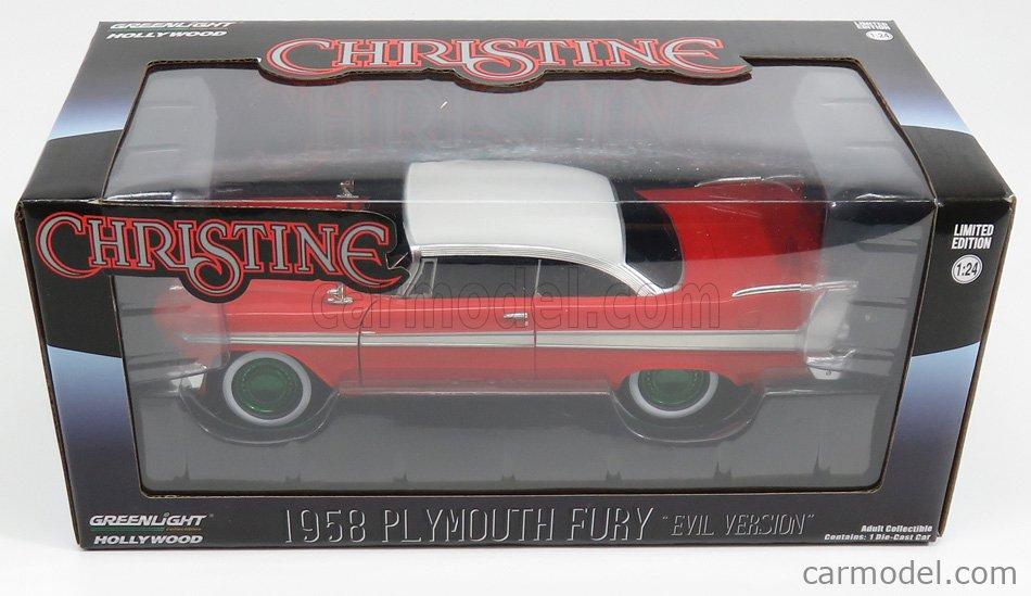 GREENLIGHT 84082-GRE Scale 1/24  PLYMOUTH FURY 2-DOOR 1958 - BLACK WINDOWS - EVIL VERSION - CHRISTINE LA MACCHINA INFERNALE - GREEN WHEELS RED WHITE