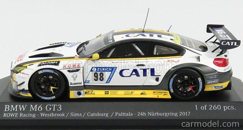 MINICHAMPS 437172698 Scale 1/43  BMW 6-SERIES M6 GT3 TEAM ROWE RACING N 98 2nd 24h NURBURGRING 2017 M.PALTTALA - N.CATSBURG - A.SIMS - R.WESTBROOK WHITE YELLOW