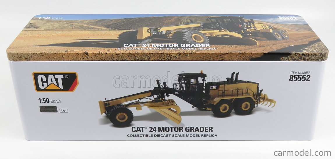 DM-MODELS 85552 Echelle 1/50  CATERPILLAR CAT24 RUSPA LIVELLATRICE GOMMATA - SCRAPER TRACTOR MOTOR GRADER YELLOW BLACK