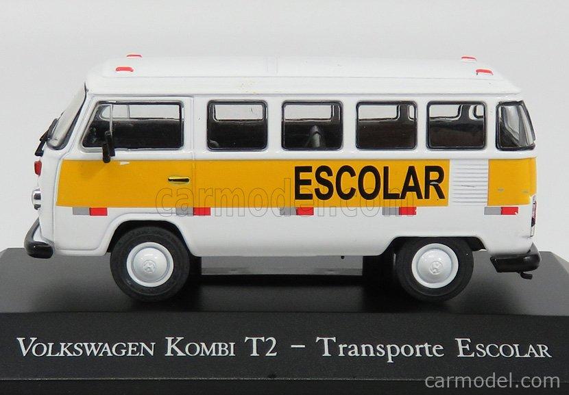 EDICOLA DEAGDOBRASCOLL001 Scale 1/43  VOLKSWAGEN T2 KOMBI MINIBUS TRANSPORTE ESCOLAR 1978 WHITE YELLOW
