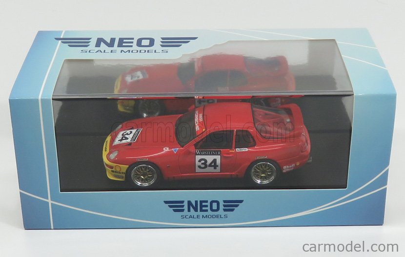 NEO SCALE MODELS NEO43838 Scale 1/43  PORSCHE 968 TURBO RS COUPE N 34 ADAC GT CUP 1993 M.REUTER RED YELLOW