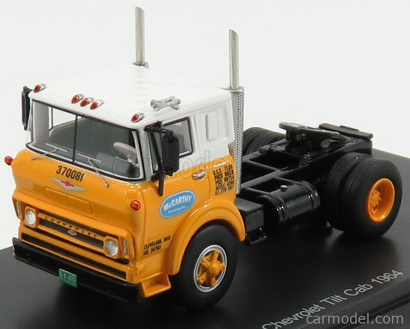 NEO SCALE MODELS NEO64081 Scale 1/64  CHEVROLET TILT CAB TRACTOR TRUCK McCARTHY 2-ASSI 1964 YELLOW WHITE BLACK