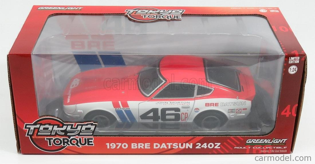 GREENLIGHT 18301 Scale 1/24  NISSAN DATSUN 240Z BRE N 46 COUPE 1970 WHITE RED