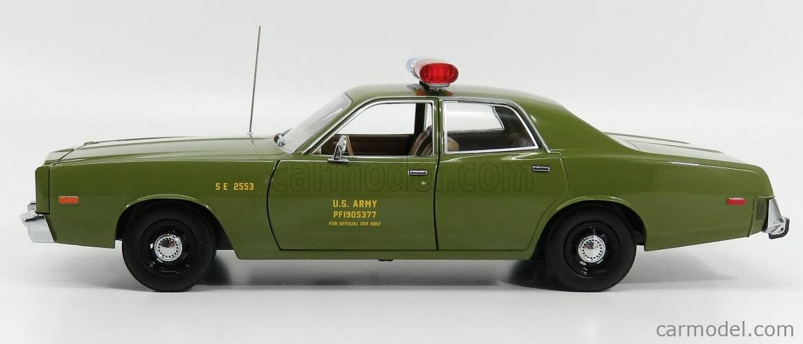 GREENLIGHT 19053 Scale 1/18  PLYMOUTH FURY U.S. ARMY MILITARY POLICE 1977 - A-TEAM MILITARY GREEN