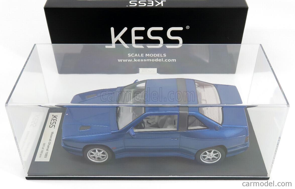 KESS-MODEL KE18003C Масштаб 1/18  MASERATI SHAMAL 1989 - CON VETRINA - WITH SHOWCASE BLUE MET