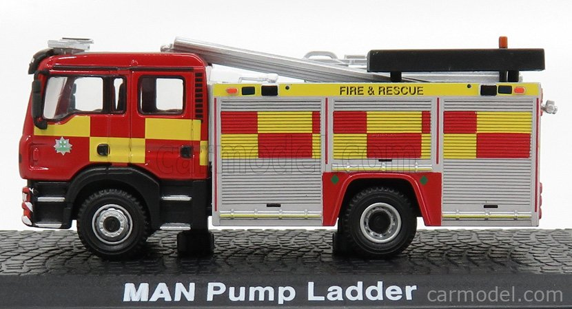 EDICOLA ATFECOLL010 Scale 1/72  MAN 16T TANKER TRUCK DOUBLE CABINE PUMP LADDER FIRE ENGINE 2003 RED SILVER YELLOW
