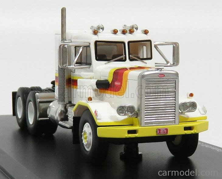 NEO SCALE MODELS NEO64065 Scale 1/64  PETERBILT 351 TRACTOR TRUCK 3-ASSI SBFA NEEDLE NOSE 1971 WHITE YELLOW RED