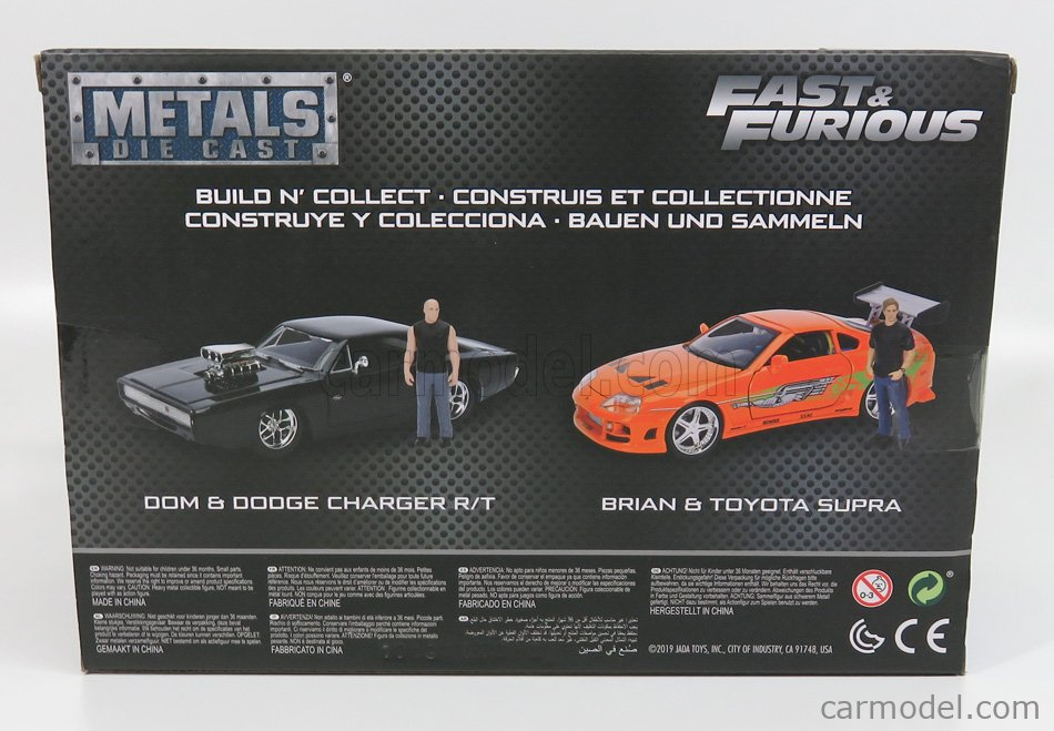 JADA 30698-KIT Масштаб 1/24  DODGE DOM'S DODGE CHARGER R/T 1970 - WITH FIGURE DOMINIC TORETTO - FAST & FURIOUS 7 MATT BLACK