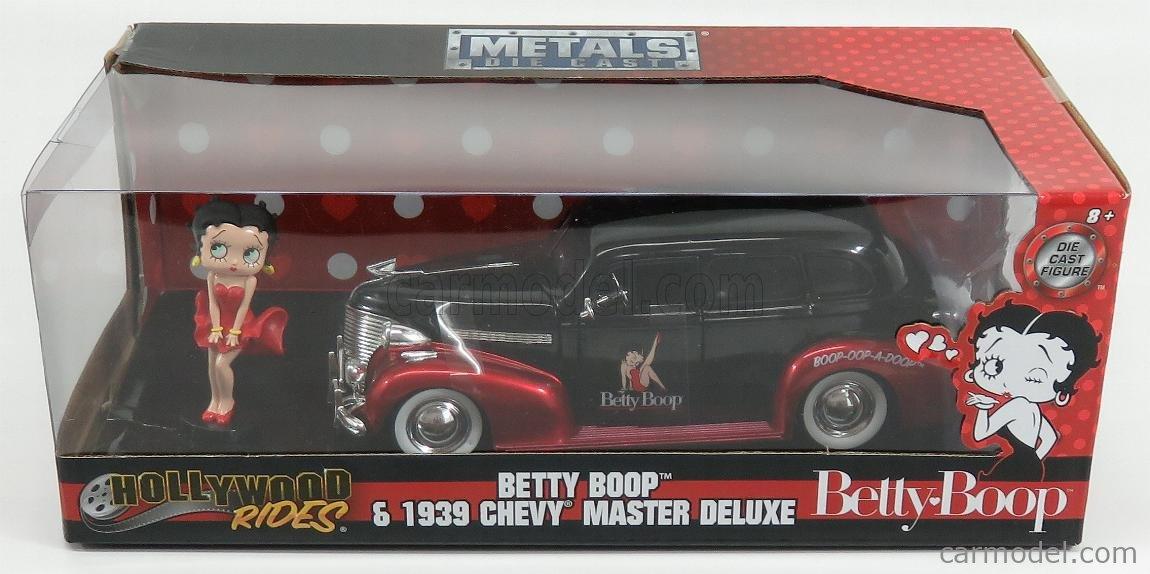 JADA 30695 Масштаб 1/24  CHEVROLET MASTER DELUXE WITH BETTY BOOP FIGURE 1939 BLACK RED MET