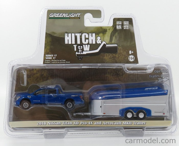 GREENLIGHT 32170D Scale 1/64  NISSAN TITAN XD PRO-X4 PICK-UP WITH AEROVAULT MKII TRAILER 2018 BLUE SILVER