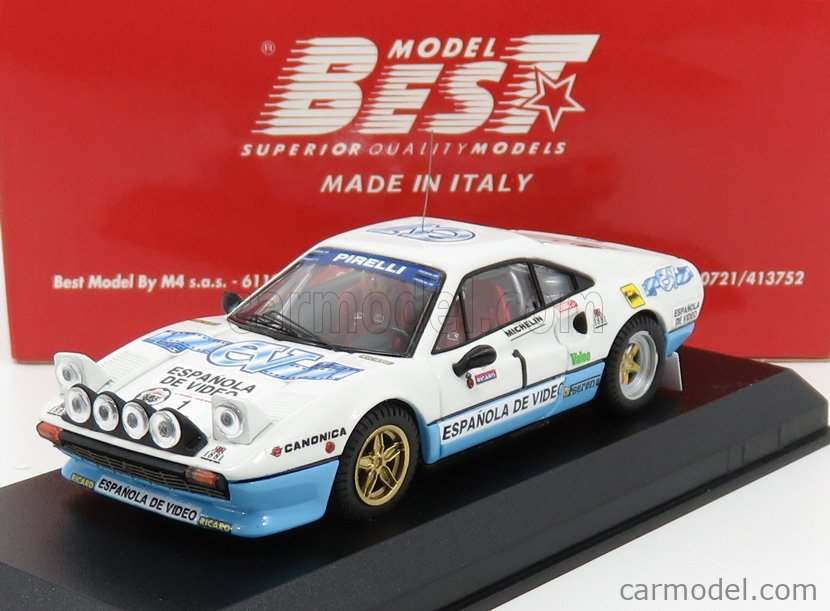 BEST-MODEL 9761 Masstab: 1/43  FERRARI 308 GTB N 1 WINNER RALLY CRITERIUM LUIS DE BAVIERA 1984 ZANINI - AUTET WHITE BLUE