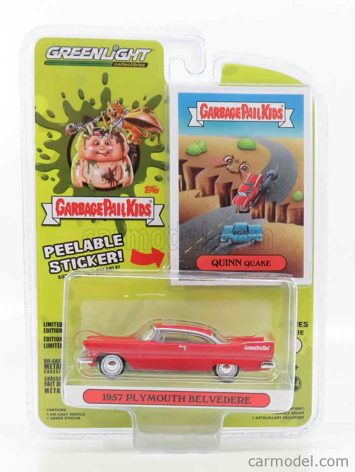 GREENLIGHT 54010A Scale 1/64  PLYMOUTH BELVEDERE GARBAGE PAIL KIDS 1957 RED