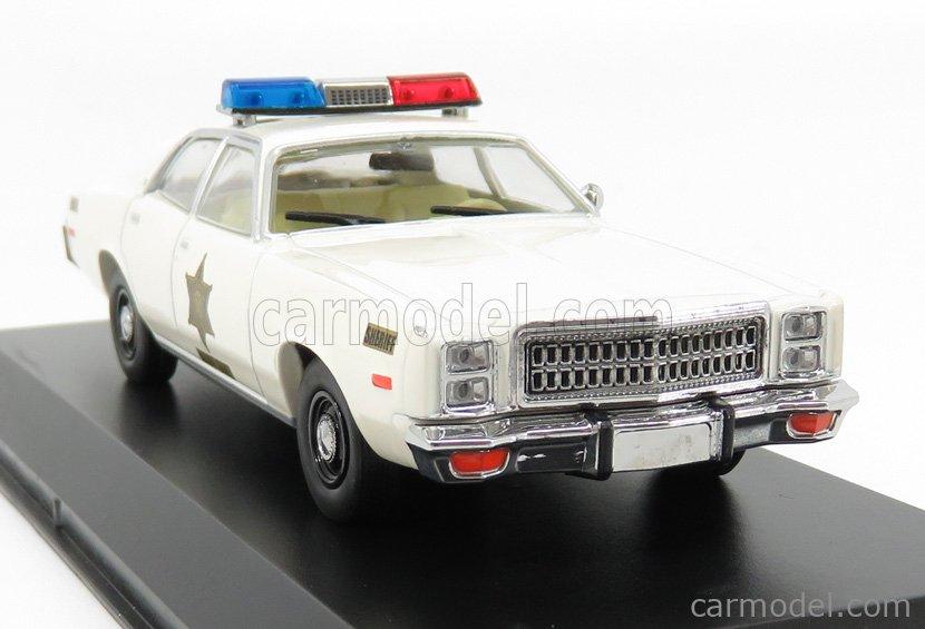 GREENLIGHT 86558 Scale 1/43  PLYMOUTH FURY - HAZZARD COUNTY SHERIFF - POLICE ROSCO PATROL CAR 1977 WHITE