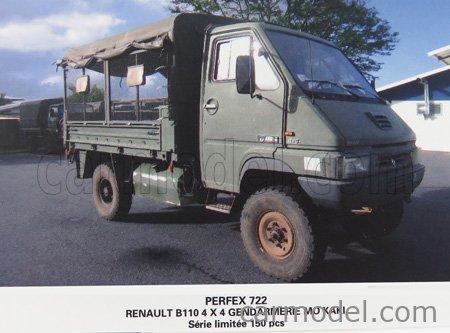 PERFEX PE722 Scale 1/43  RENAULT B110 4X4 GENDARMERIE MAINTIEN DE L'ORDRE 1985 MILITARY GREEN