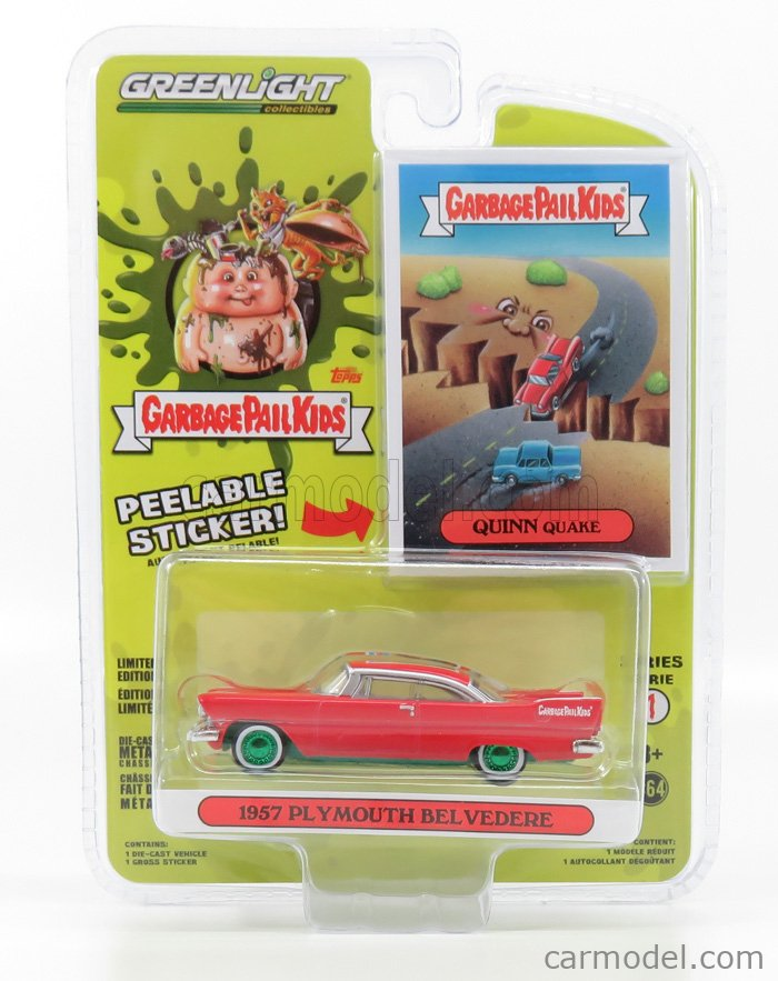 GREENLIGHT 42890C Scale 1/64  PLYMOUTH BELVEDERE 1987 - GREEN WHEELS LIGHT BLUE WHITE