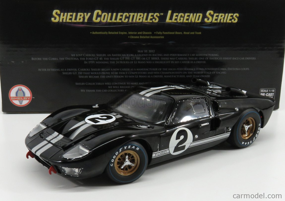 SHELBY-COLLECTIBLES SHELBY408 Scale 1/18  FORD USA GT40 MKII 7.0L V8 TEAM SHELBY AMERICAN INC. N 2 WINNER 24h LE MANS 1966 B.McLAREN - C.AMON BLACK SILVER