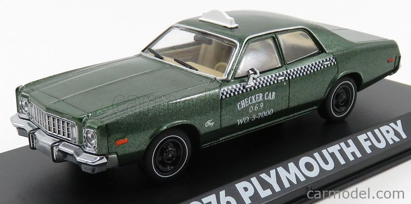 GREENLIGHT 86566 Scale 1/43  PLYMOUTH FURY CHECKER CAB TAXI 1976 - BEVERLY HILLS COP GREEN MET