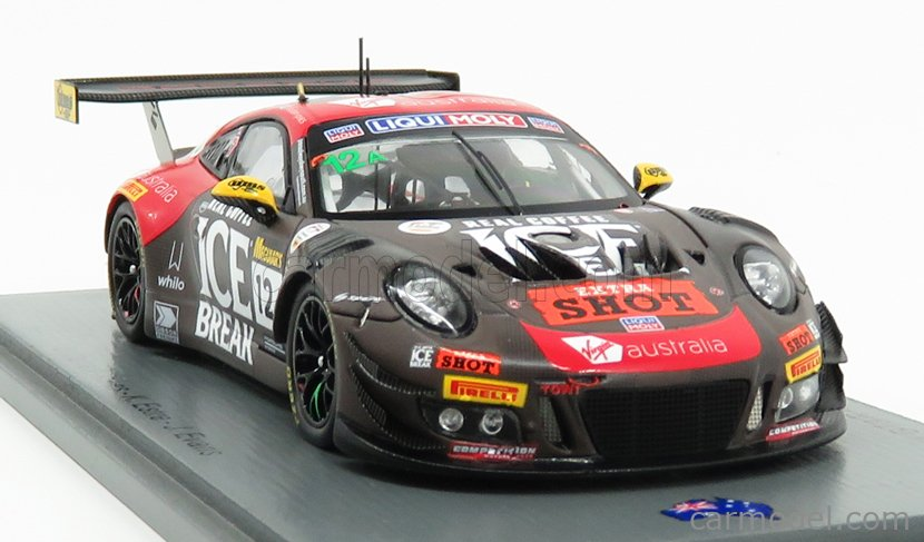 SPARK-MODEL AS038 Scale 1/43  PORSCHE 911 991 GT3R TEAM MCELREA RACING N 12 12h BATHURST 2019 D.CALVERT - K.ESTRE - J.EVANS BLACK RED