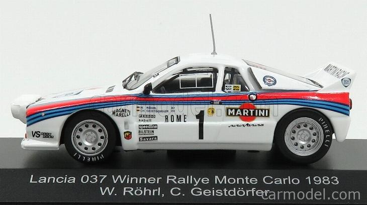 CMR WRC009 Scale 1/43  LANCIA 037 MARTINI N 1 WINNER RALLY MONTECARLO 1983 WALTER ROHRL - CHRISTIAN GEISTDORFER WHITE