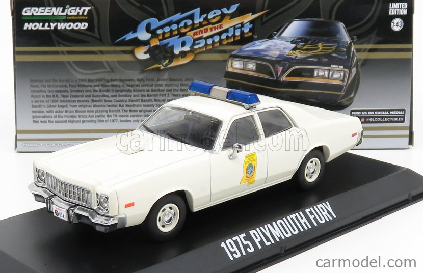 GREENLIGHT 86557 Scale 1/43  PLYMOUTH FURY POLICE MISSISSIPI HIGHWAY PATROL 1977 - SMOKEY AND THE BANDIT WHITE