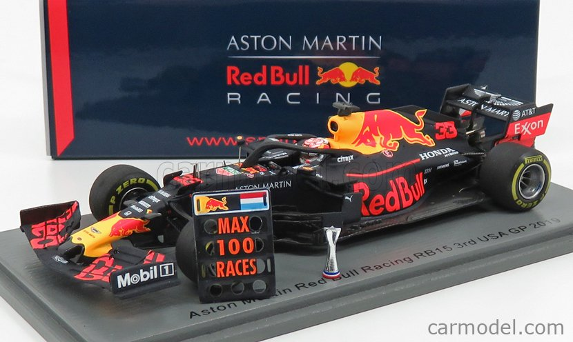 SPARK-MODEL S6049 Масштаб 1/43  RED BULL F1  RB15 TEAM ASTON MARTIN N 33 USA GP (WITH PIT BOARD) 2019 M.VERSTAPPEN RED BLUE YELLOW