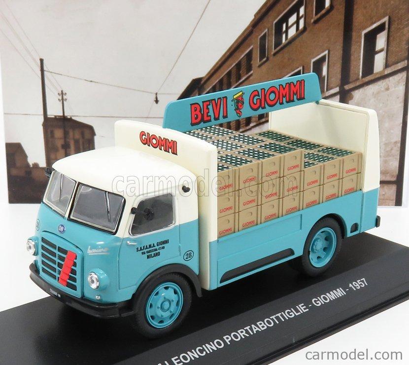 EDICOLA VCDE003 Echelle 1/43  OM FIAT LEONCINO TRUCK PORTABOTTIGLIE GIOMMI 1957 LIGHT BLUE CREAM