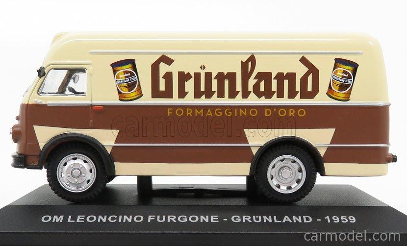 EDICOLA VCDE006 Masstab: 1/43  OM FIAT LEONCINO TRUCK VAN GRUNLAND FORMAGGINO D'ORO 1959 BROWN BEIGE