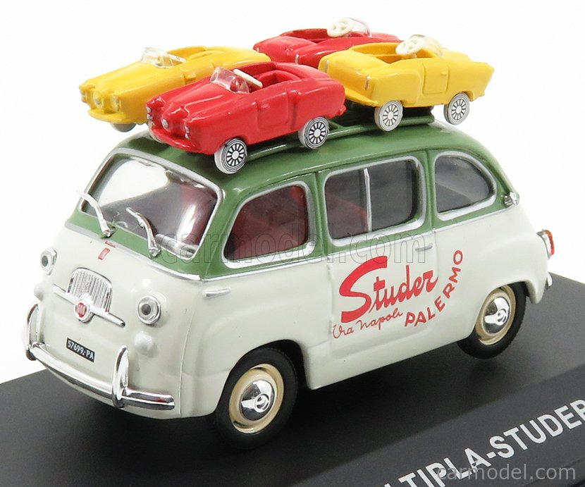 EDICOLA VCDE00SPEC Echelle 1/43  FIAT MULTIPLA - STUDER PALERMO WITH FOUR MICROCARS 1959 WHITE GREEN