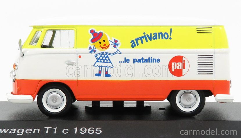 EDICOLA VCDE004 Echelle 1/43  VOLKSWAGEN T1 C VAN  - PAI - ARRIVANO LE PATATINE 1965 WHITE ORANGE YELLOW