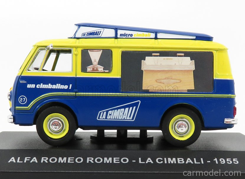 EDICOLA VCDE008 Echelle 1/43  ALFA ROMEO ROMEO FURGONE VAN - LA CIMBALI 1955 BLUE YELLOW