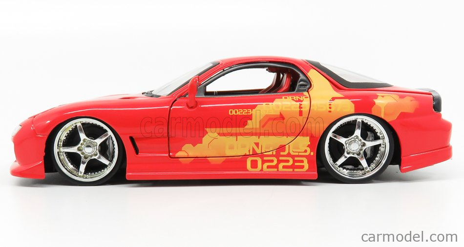 JADA 30747 Масштаб 1/24  MAZDA DOM'S RX-7 2001 - TORETTO - FAST & FURIOUS II (2003) RED YELLOW