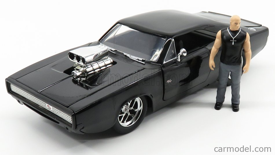 JADA 30737 Масштаб 1/24  DODGE DOM'S DODGE CHARGER R/T WITH TORETTO FIGURE 1970 - FAST & FURIOUS 7 BLACK