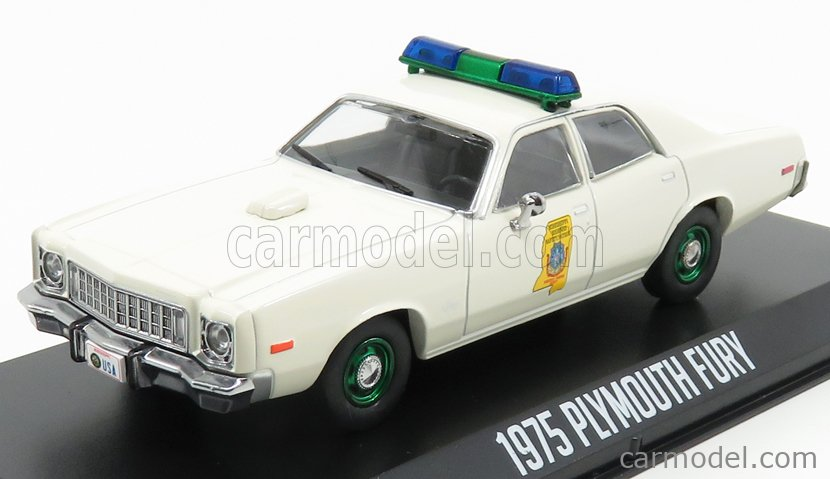 GREENLIGHT 86557-GRE Scale 1/43  PLYMOUTH FURY POLICE MISSISSIPI HIGHWAY PATROL 1977 - SMOKEY AND THE BANDIT - GREEN WHEELS WHITE