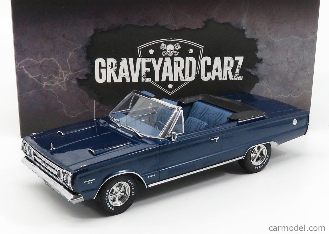 GREENLIGHT 19059 Scale 1/18  PLYMOUTH BELVEDERE GTX CABRIOLET GRAVEYARD CARZ 1967 BLUE WHITE
