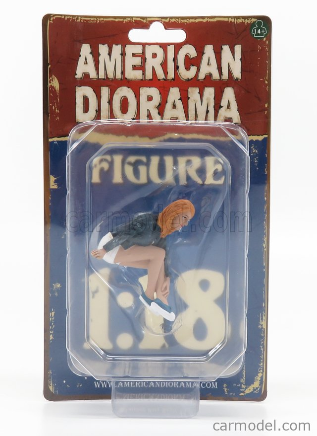 AMERICAN DIORAMA 38218 Scale 1/18  FIGURES DONNA - WOMAN SEATED WEEKEND CAR SHOW - CAR NOT INCLUDED BLUE WHITE