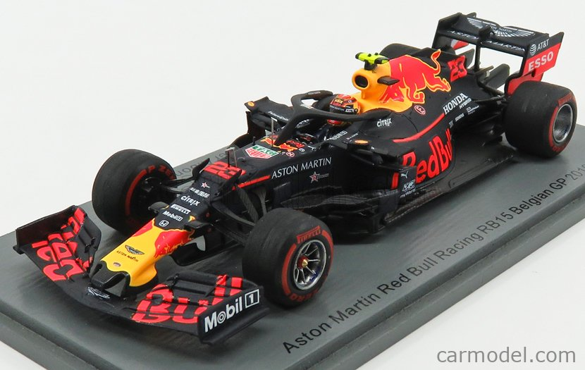 SPARK-MODEL S6095 Masstab: 1/43  RED BULL F1  RB15 TEAM ASTON MARTIN N 23 BELGIUM GP 2019 A.ALBON BLUE RED YELLOW