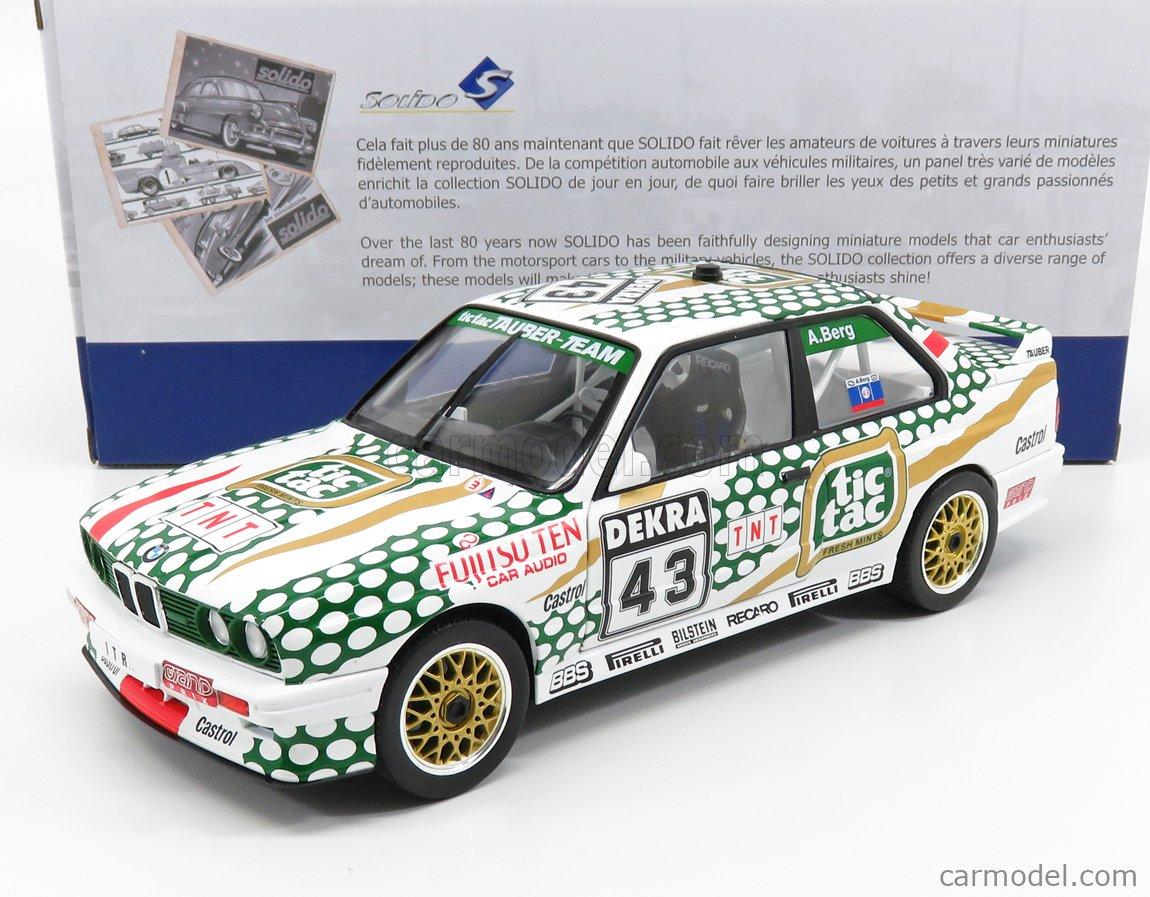 SOLIDO 1801505 Masstab: 1/18  BMW 3-SERIES M3 E30 TEAM TIC TAC TAUBER N 43 NORISRING RENNEN DTM 1991 A.BERG WHITE GREEN