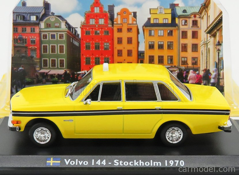 EDICOLA TAXCENTCOLL031 Scale 1/43  VOLVO 144 TAXI STOCKHOLM 1970 YELLOW BLACK
