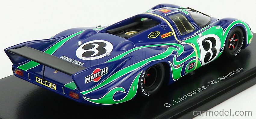 SPARK-MODEL S0928 Echelle 1/43  PORSCHE 917LH 4.5L TEAM MARTINI RACING INTERNATIONAL N 3 2nd 24h LE MANS 1970 G.LARROUSSE - W.KAUHSEN BLUE GREEN