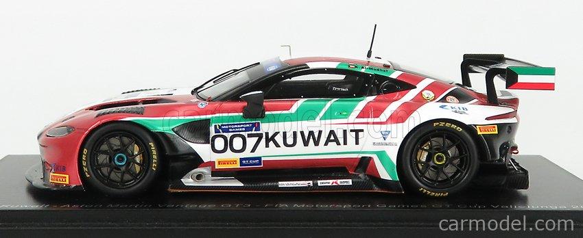 SPARK-MODEL S6318 Масштаб 1/43  ASTON MARTIN VANTAGE GT3 TEAM KUWAIT N 007 FIA MOTORSPORT GAMES GT CUP VALLELUNGA 2019 K.AL MUDHAF - Z.ASHKANANI RED WHITE GREEN
