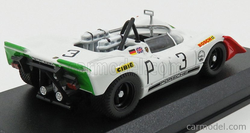 BEST-MODEL 9771 Echelle 1/43  PORSCHE 908/02 N 3 3rd 1000km NURBURGRING 1969 ELFORD - AHRE WHITE GREEN RED