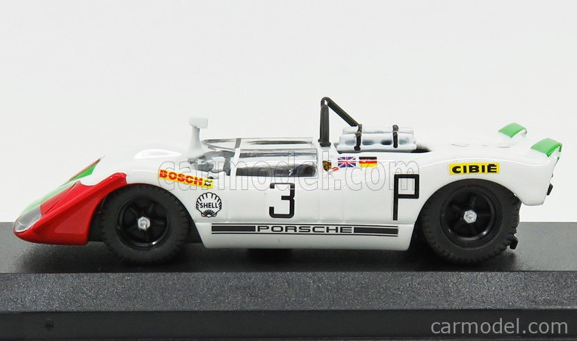 BEST-MODEL 9771 Scale 1/43  PORSCHE 908/02 N 3 3rd 1000km NURBURGRING 1969 ELFORD - AHRE WHITE GREEN RED