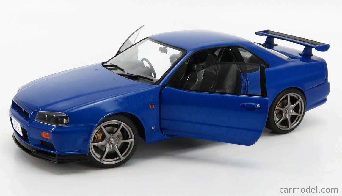 SOLIDO 1804301 Scale 1/18  NISSAN SKYLINE GT-R (R34) 1999 BAYSIDE BLUE MET