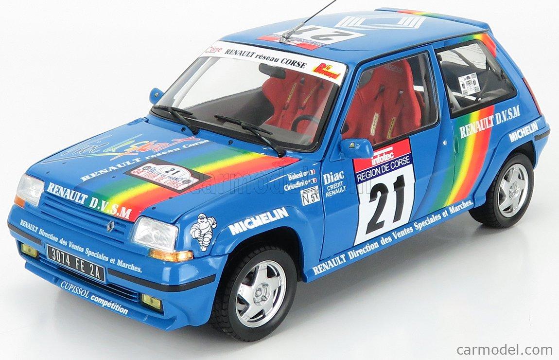 NOREV 185217 Scale 1/18  RENAULT R5 SUPERCINQUE GT TURBO N 21 RALLY TOUR DE CORSE 1990 CIRINDINI - BALESI BLUE