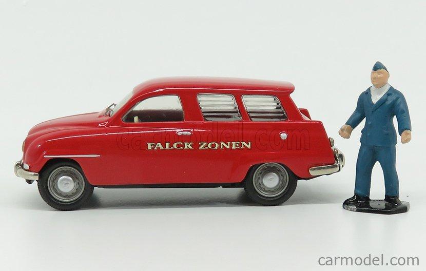 SOMERVILLE SS1 Echelle 1/43  SAAB 95 AMBULANCE FALCK ZONEN WITH FIGURE 1961 RED